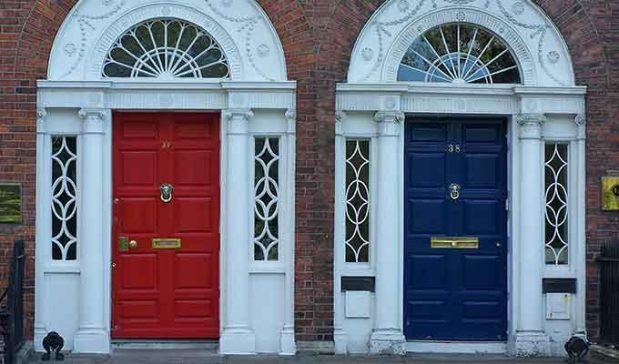 Red and blue front doors